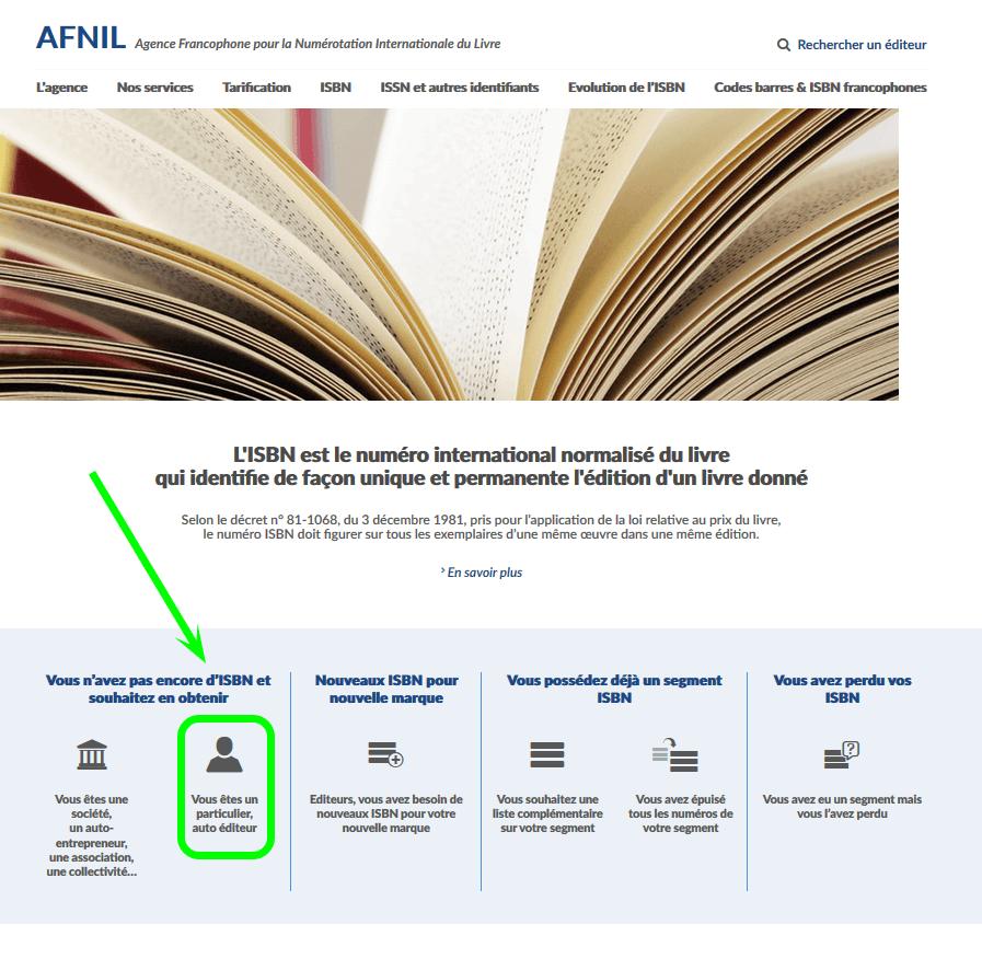 Auto-édition pour un auteur et ISBN - Page 1 de demande de numéros ISBN