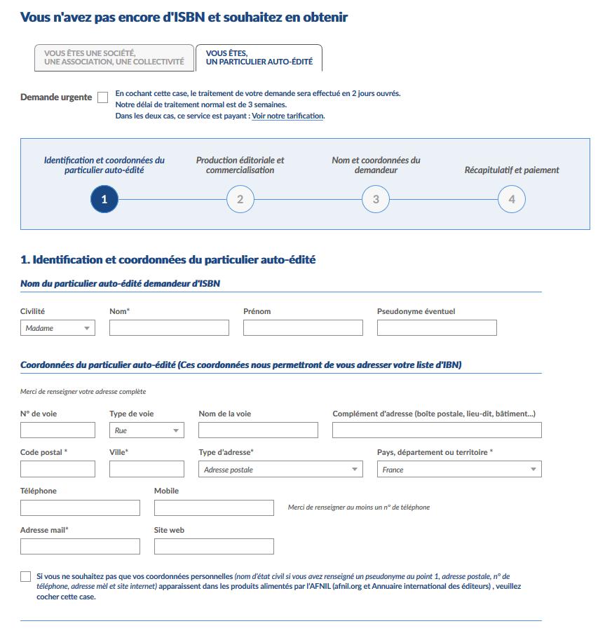 Auto-édition pour un auteur et ISBN - Page 2 de demande de numéros ISBN